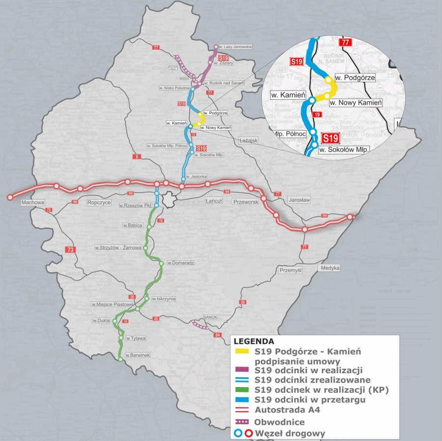 Mapa z lokalizacją odcinka drogi ekspresowej S19 Podgórze - Kamień