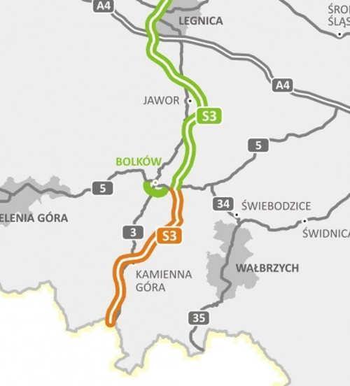 Mapa odcinka drogi ekspresowej S3 Legnica - Lubawka