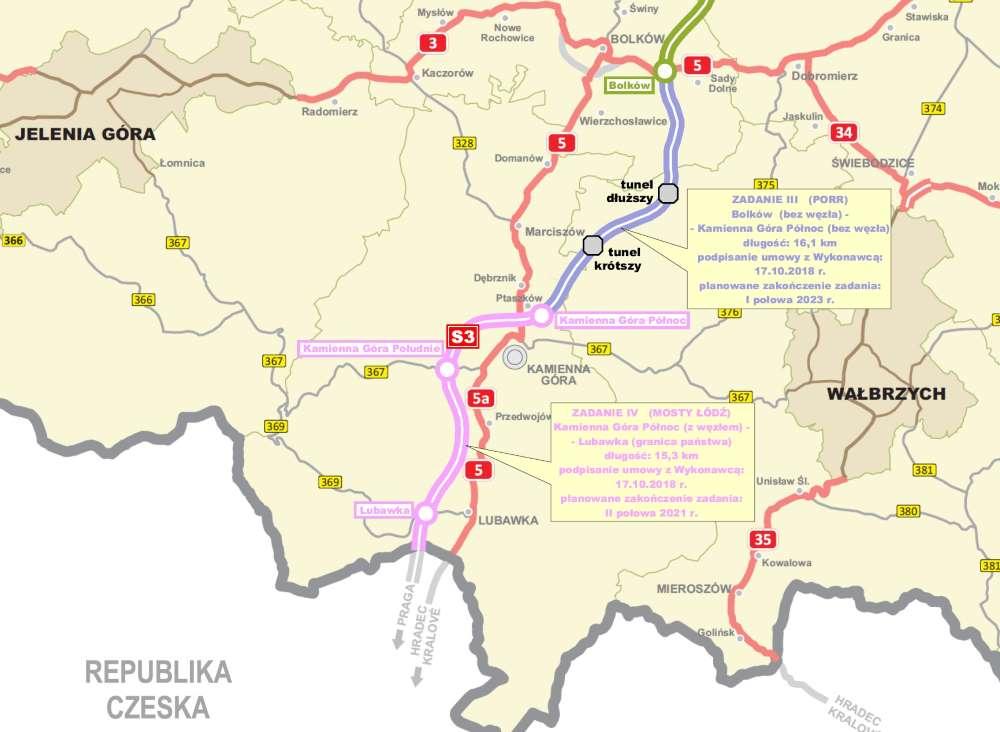 Mapa drogi ekspresowej S3 Bolków - Lubawka
