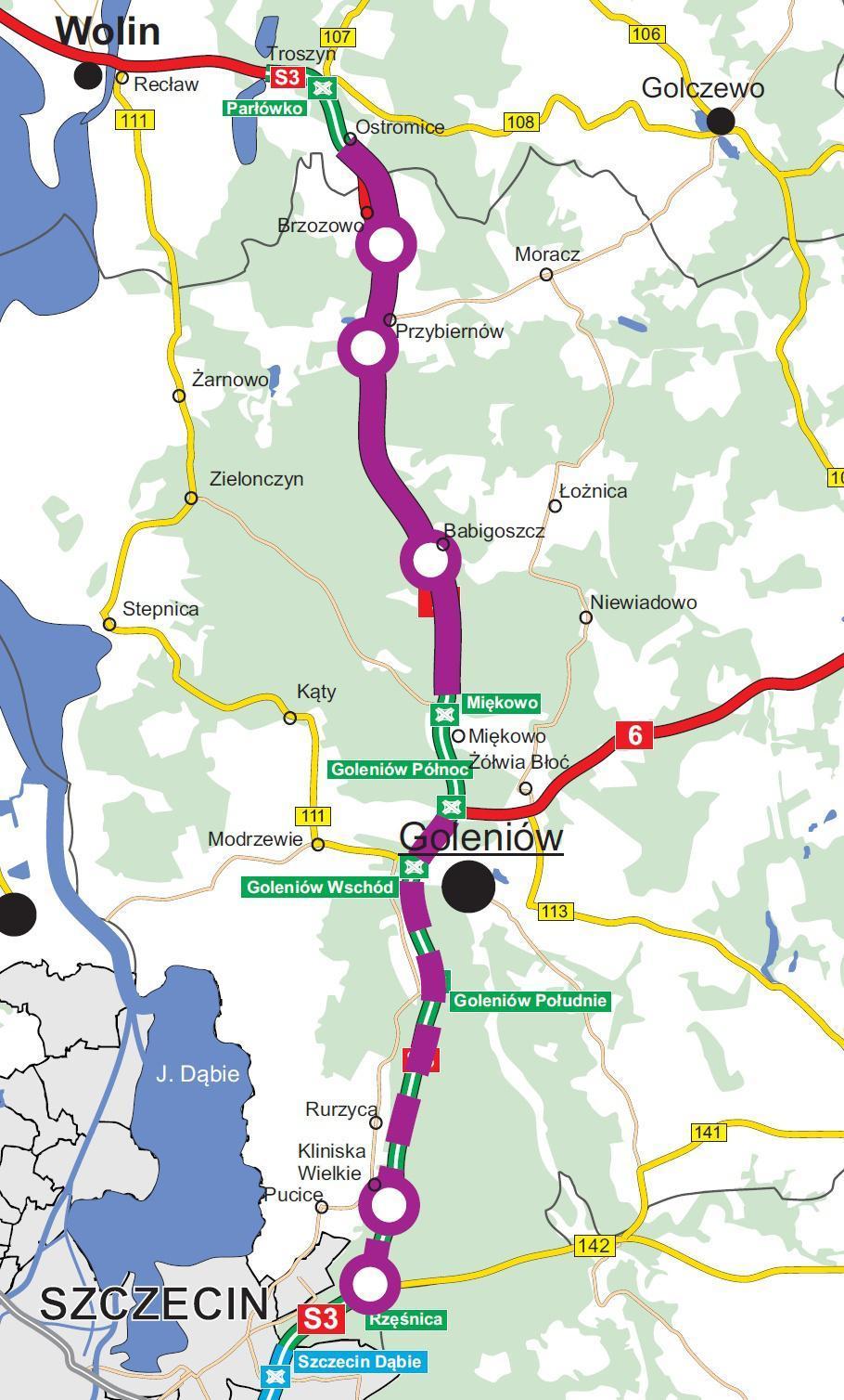 Mapa przebiegu odcinka drogi ekspresowej S3 Brzozowo - Rzęśnica, który będzie rozbudowany