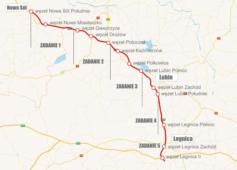 Mapa drogi ekspresowej S3 Nowa Sól - Legnica