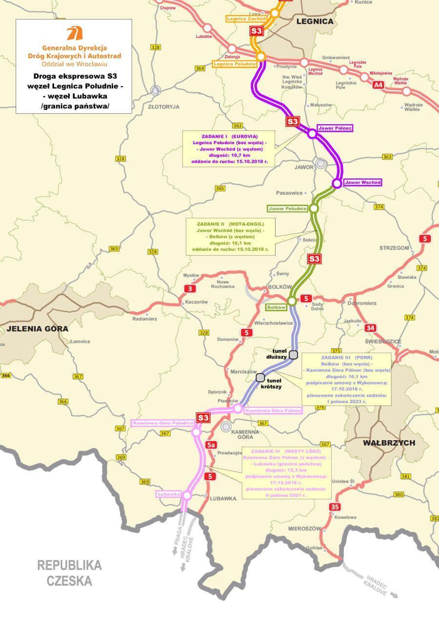 Mapa drogi ekspresowej S3 w woj. dolnośląskim - odcinki z Bolkowa do Lubawki