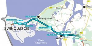 Mapa S3 w Zachodniopomorskim Świnoujście - Troszyn z węzłami drogowymi
