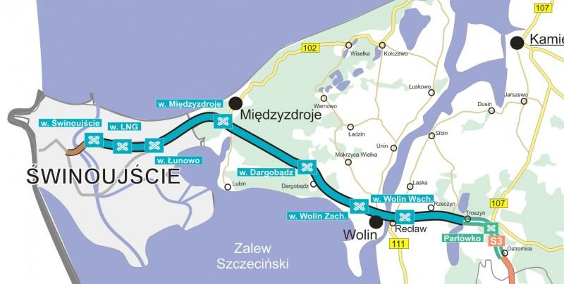 Mapa drogi S3 Świnoujście - Troszyn z węzłami drogowymi