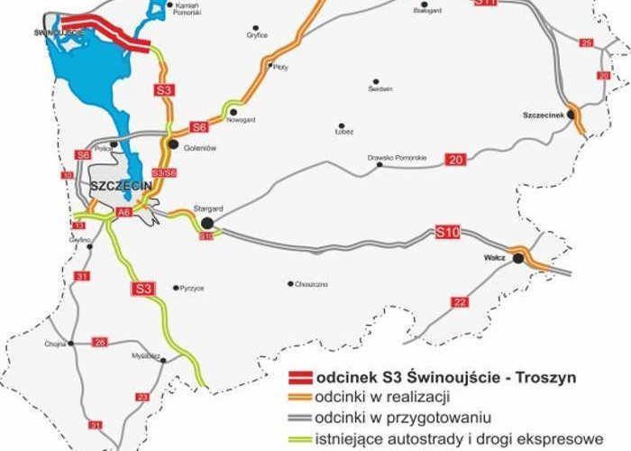 Mapa realizowanych odcinków drogi S3 Szczecin - Świnoujście