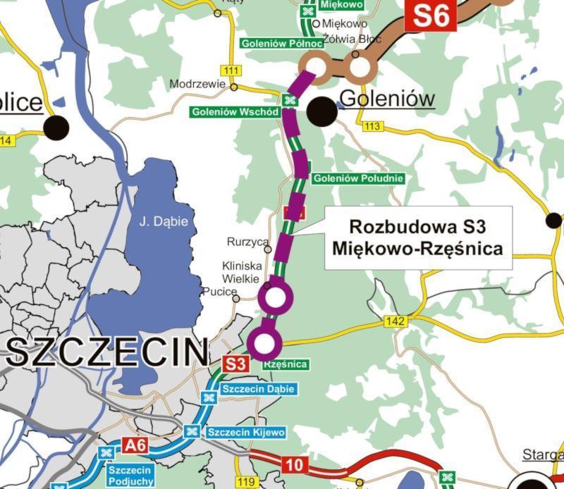 Mapa wschodniej obwodnicy Szczecina w ciągu drogi S3 - rozbudowa odcinka Rzęśnica - Miękowo
