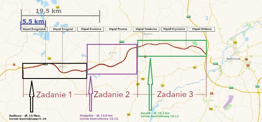 19 kilometrów drogi ekspresowej S5 Korzeńsko - Żmigród - Krościna