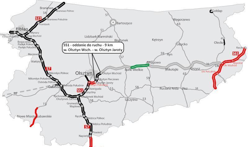 Mapa obwodnicy Olsztyna w ciągu DK16 i S51