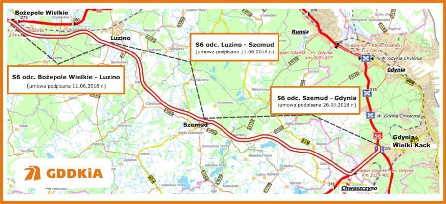 Mapa z odcinkami realizacyjnymi drogi ekspresowej S6 Bożepole Wielkie - Gdynia