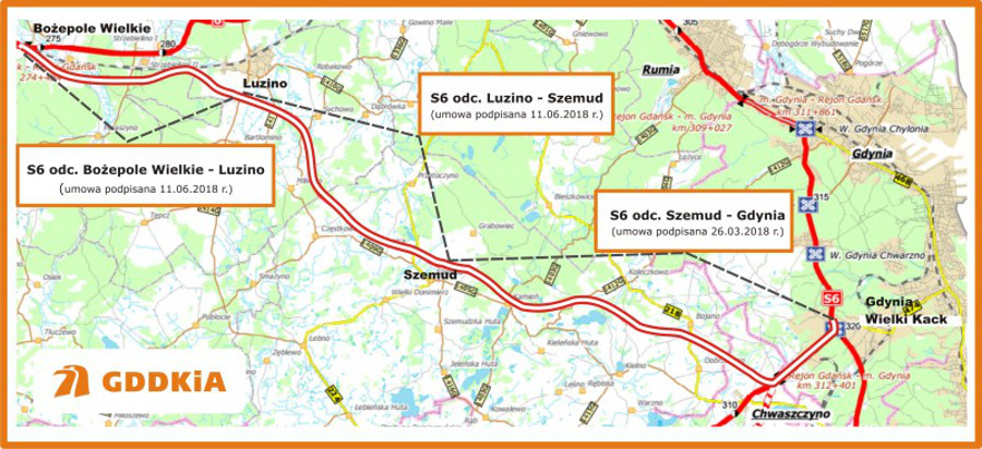 Mapa przebiegu Trasy Kaszubskiej - droga ekspresowa S6 Bożepole wielkie - Gdynia