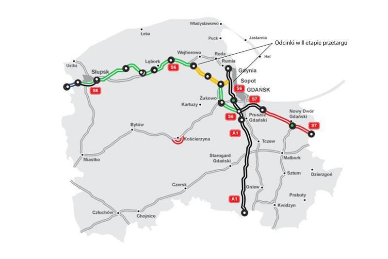 Mapa z zaznaczonymi odcinkami drogi ekspresowej S6 w II etapie przetargu