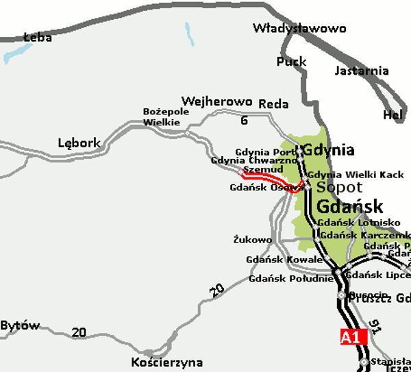 Mapa odcinka drogi ekspresowej S6 Szemud - Gdynia