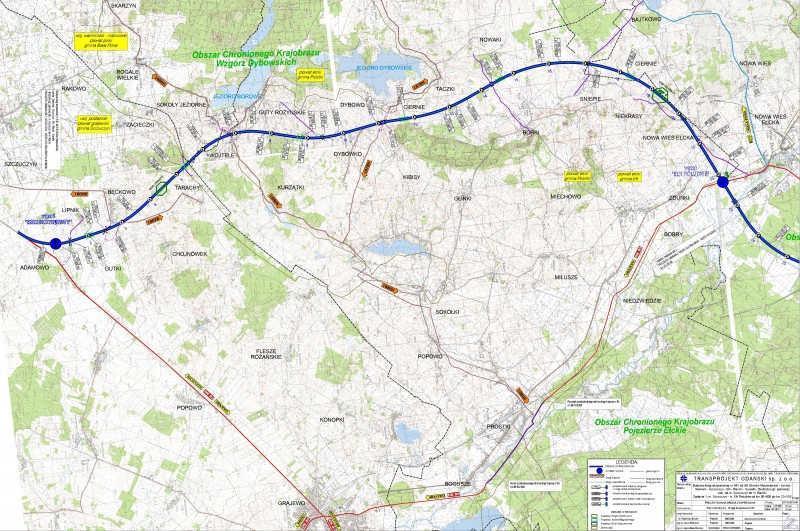 Mapa przebiegu drogi ekspresowej S61 Szczuczyn - Ełk