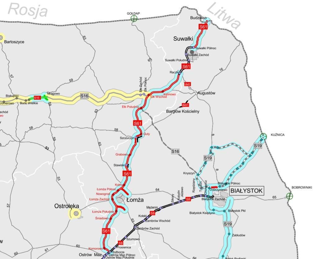 S61 Ostrów Maz. - Suwałki - Budzisko mapa przebiegu
