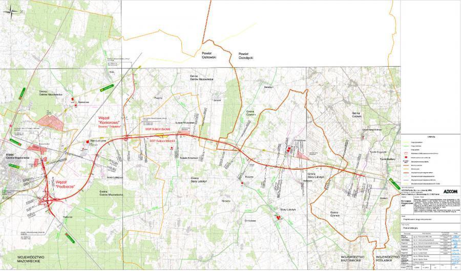 Mapa odcinka drogi ekspresowej S61 Podborze - Śniadowo