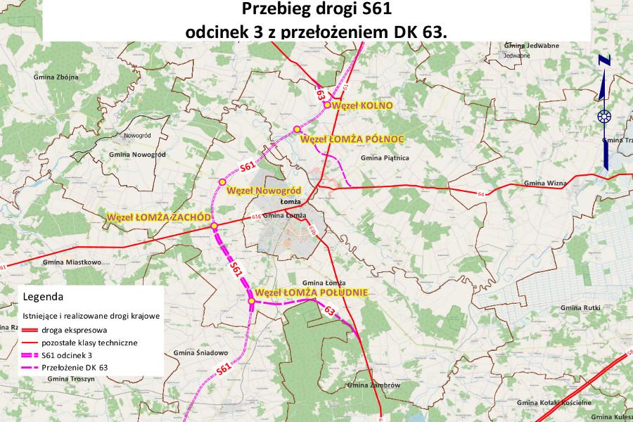 Mapa obwodnicy Łomży w ciągu drogi ekspresowej S61 wraz z DK63