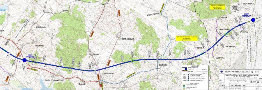 Mapa przebiegu drogi ekspresowej S61 na odcinku Wysokie - Raczki