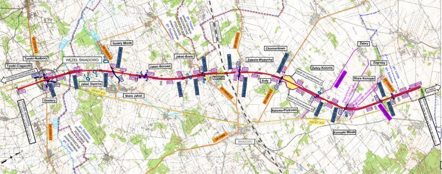 Mapa odcinka drogi ekspresowe S61 Śniadowo - Łomża