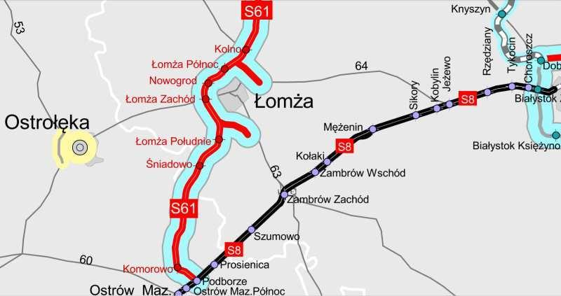 Mapa drogi ekspresowej S61 Śniadowo - Podborze