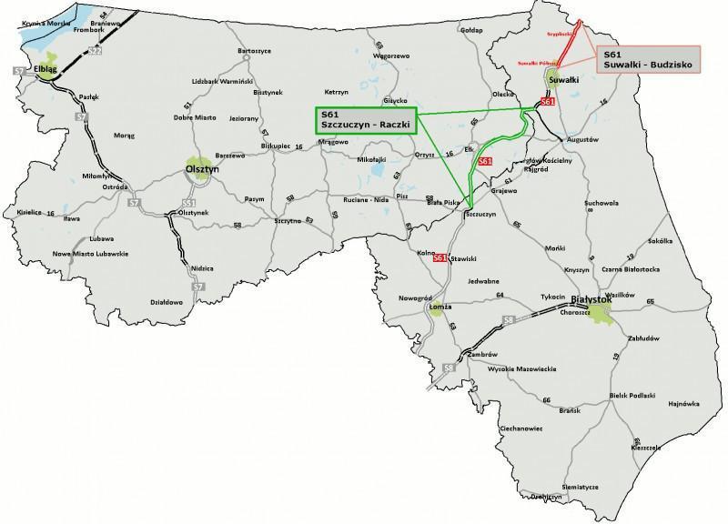 Droga ekspresowa S61 Suwałki - Budzisko - mapa