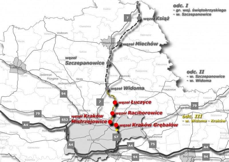 Mapa przebiegu drogi ekspresowej S7: obwodnica Krakowa - Widoma