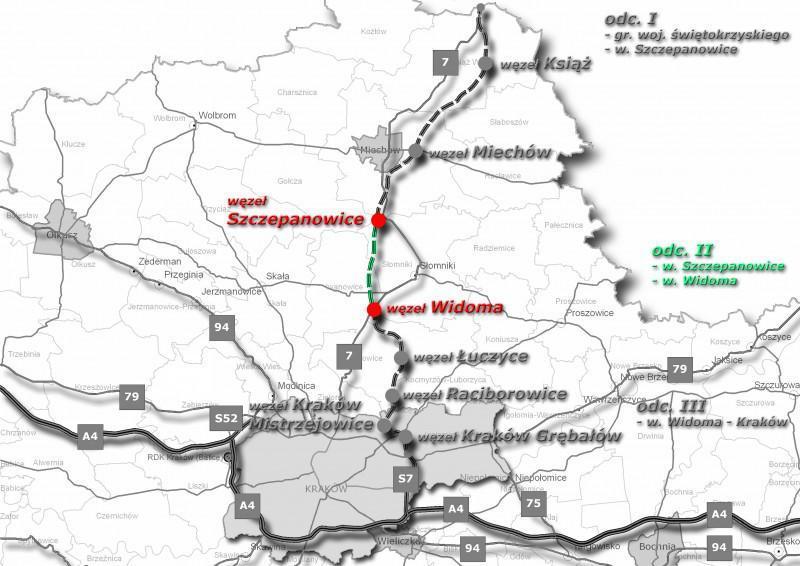 Mapa drogi ekspresowej S7 Kraków - granica z woj. świętokrzyskim