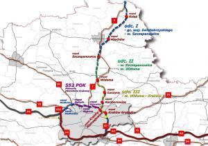 Mapa przebiegu drogi ekspresowej S7 na północ o Krakowa w podzile na zadania