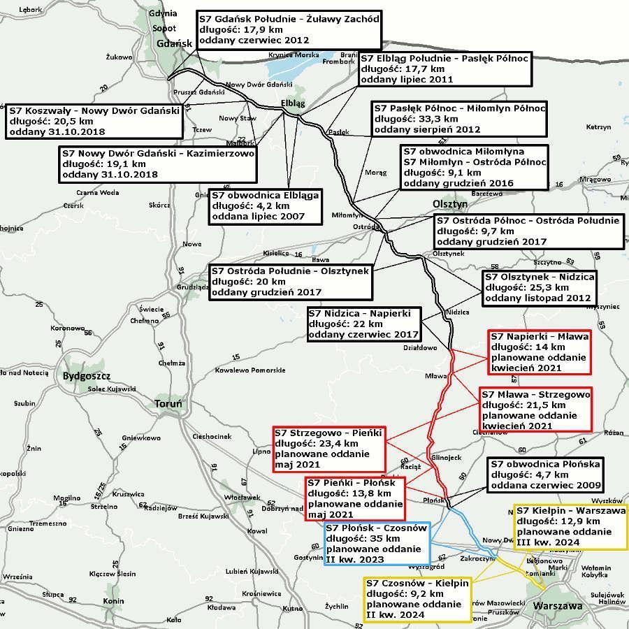 Mapa z odcinkami realizacyjnymi Gdańsk - Warszawa