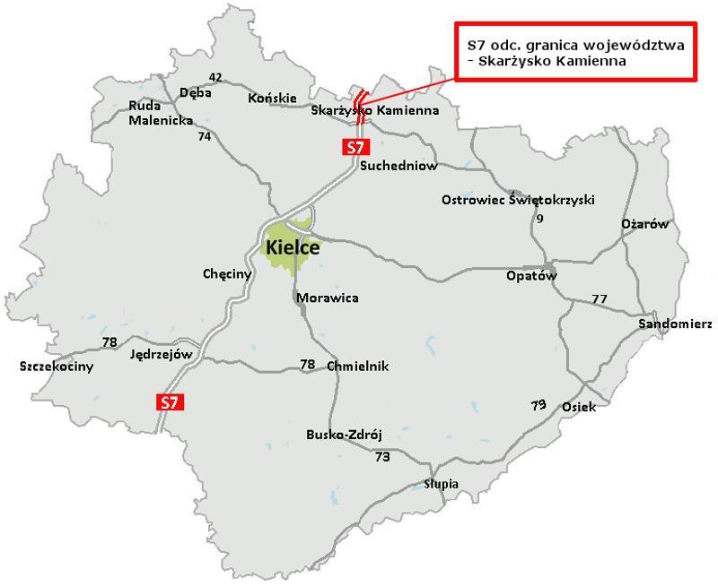 Mapa z lokalizacją odcinka drogi ekspresowej S7 Skarżysko Kamienna - granica województwa
