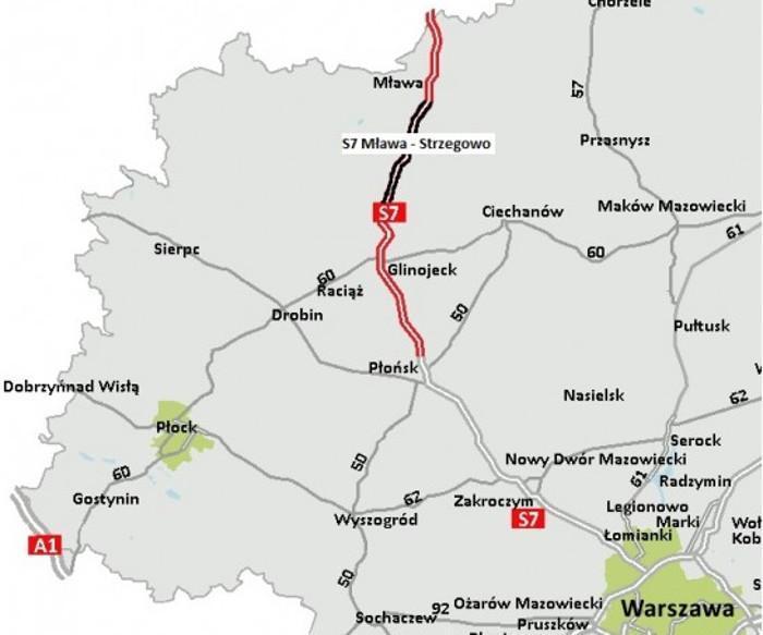 Mapa przebiegu drogi ekspresowej S7 Mława - Strzegowo