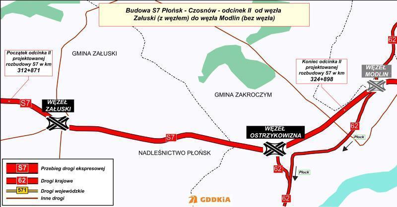 Mapa drogi ekspresowej S7 Płońsk - Czosnów odc. Załuski - Modlin