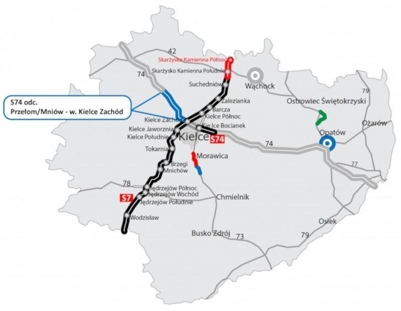 Mapa przebiegu drogi ekspresowej S74 w woj. świętokrzyskim - odcinek Przełom - Kielce
