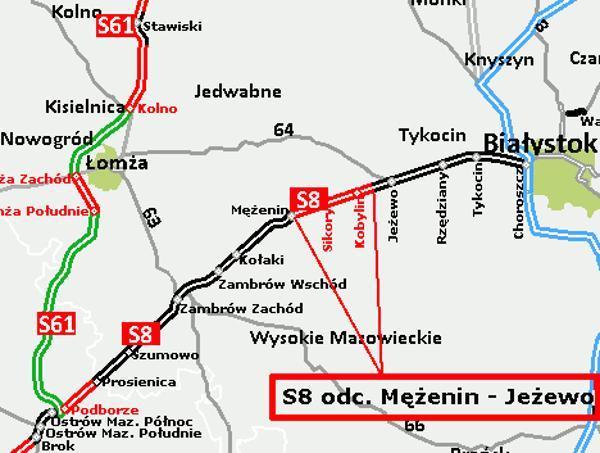 Mapa odcinka drogi ekspresowej S8 w woj. podlaskim