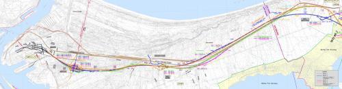 Mapa z przebiegiem wariantów drogi ekspresowej S3 w Świnoujściu jako część trasy Świnoujście -Troszyn