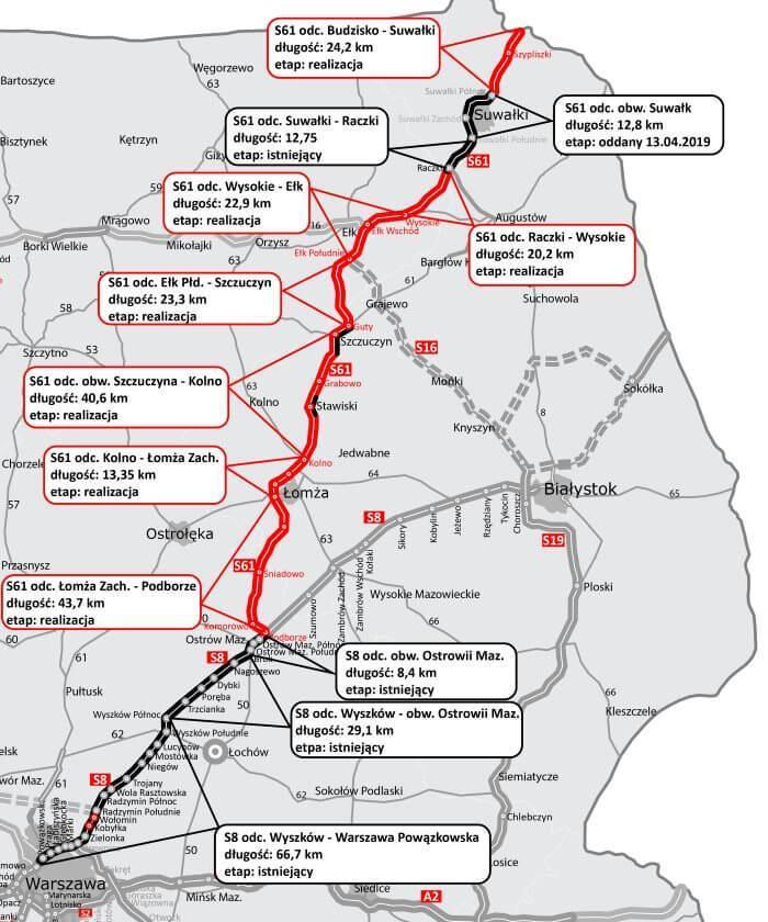 Mapa trasy Via Baltica - odcinki gotowe i w realizacji