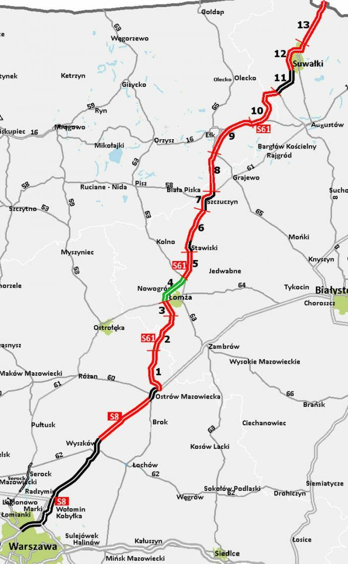 Mapa przebiegu drogi ekspresowej S8 i S61 w ciągu korytarza trasy via Baltica