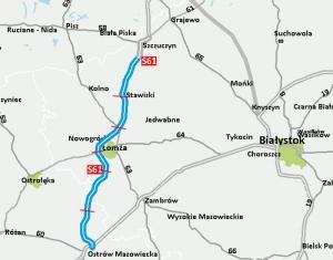 Mapa drogi ekspresowej S61 z Ostrowi Mazowieckiej do Szczuczyna z obwodnicą Łomży