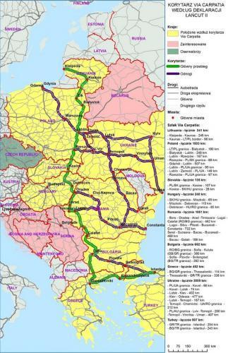 Mapa przebiegu trasy via Carpatia