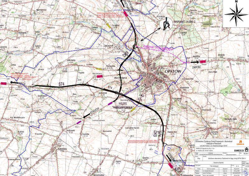 Mapa przebiegiem obwodnicy Opatowa w ciągu S74 i DK9 - wariant rekomendowany