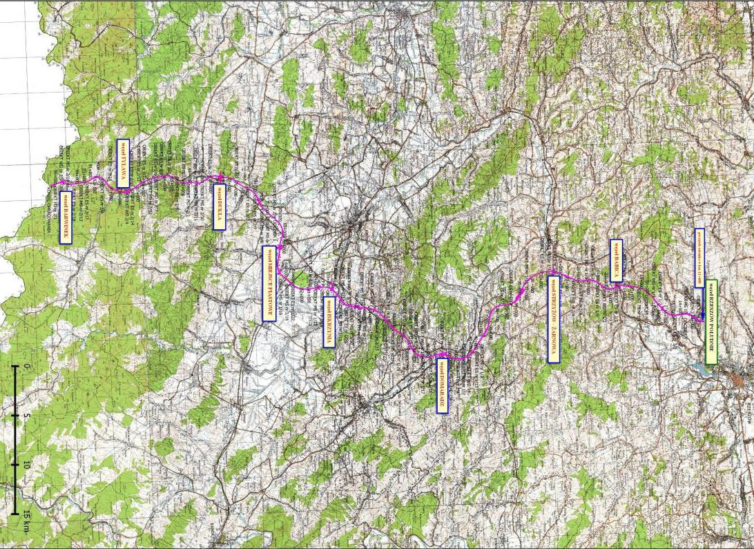 Mapa przebiegu drogi ekspresowej S19 Rzeszów - Barwinek zgodnie z decyzją środowiskową