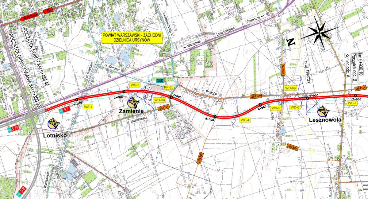 Mapa drogi S7 Warszawa - Grójec. Odcinek Warszawa Lotnisko - Lesznowola