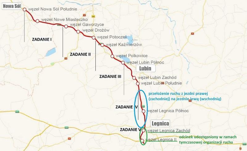 Mapa z lokalizacją oddanego do ruchu odcinka drogi S3 wraz z węzłem z autostradą A4