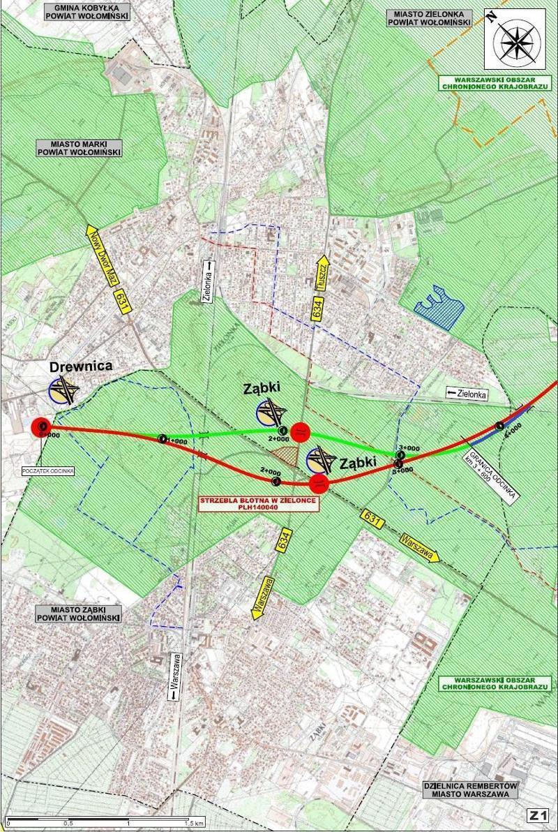 Wschodnia Obwodnica Warszawy - mapa odcinka S17 Drewnica - Ząbki