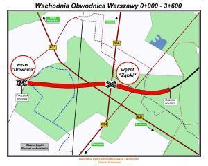 Wschodnia Obwodnica Warszawy - mapa odcinka drogi S17 Drewnica - Ząbki