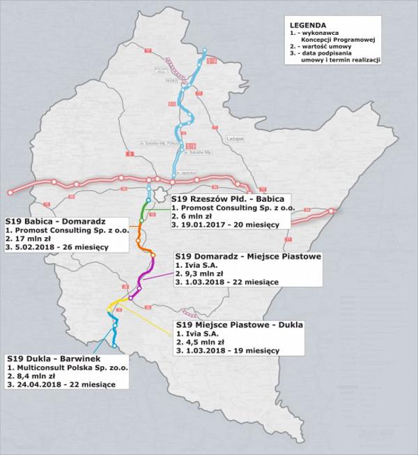 Mapa drogi ekspresowej S19 Rzeszów - Barwinek z harmonogramem realizacji