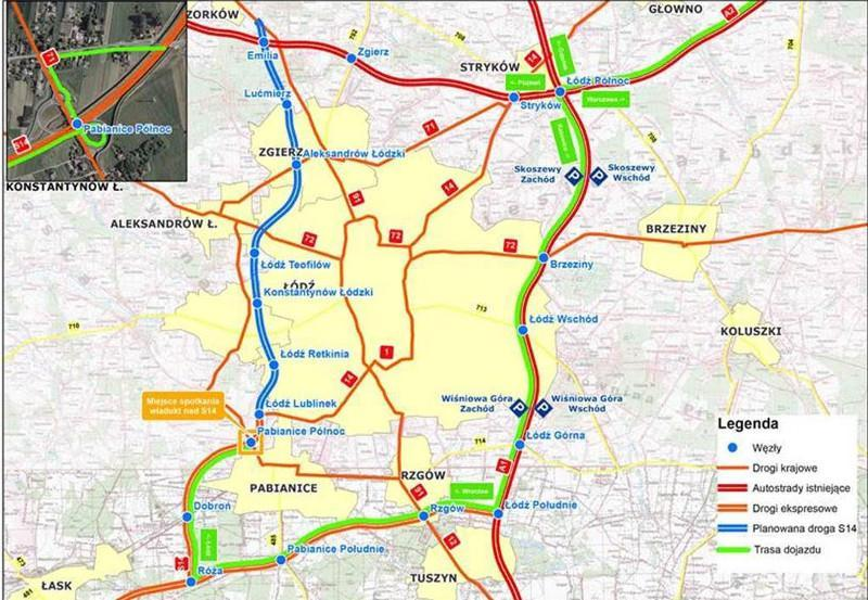 Mapa drogi ekspresowej S14 - zachodniej obwodnicy Łodzi