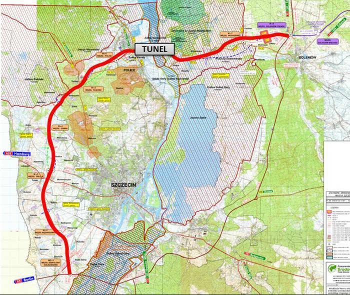 Mapa przebiegu Zachodniej Obwodnicy Szczecina w ciągu drogi ekspresowej S6