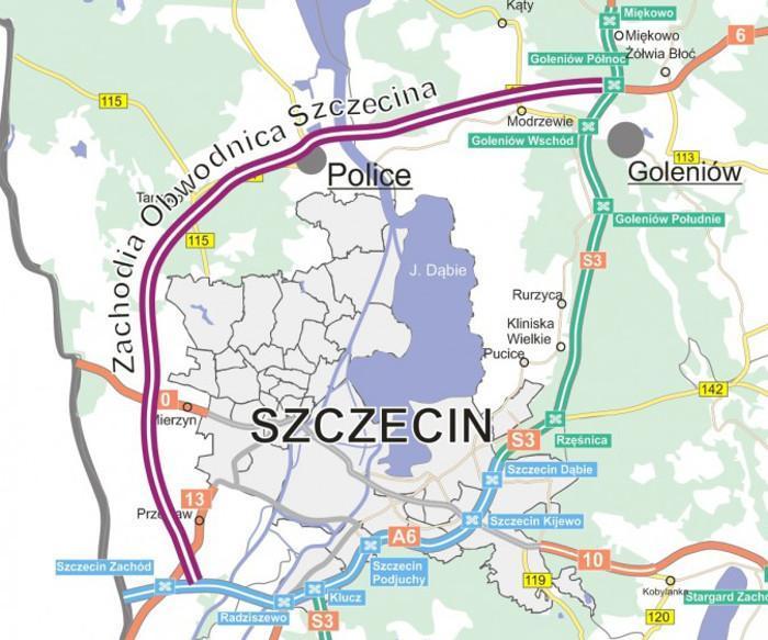 Zachodnia obwodnica Szczecina w ciągu drogi S6 - mapa przebiegu