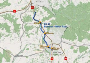 Mapa przebiegu Zakopianki (DK47) na odcinku Rdzawka – Nowy Targ