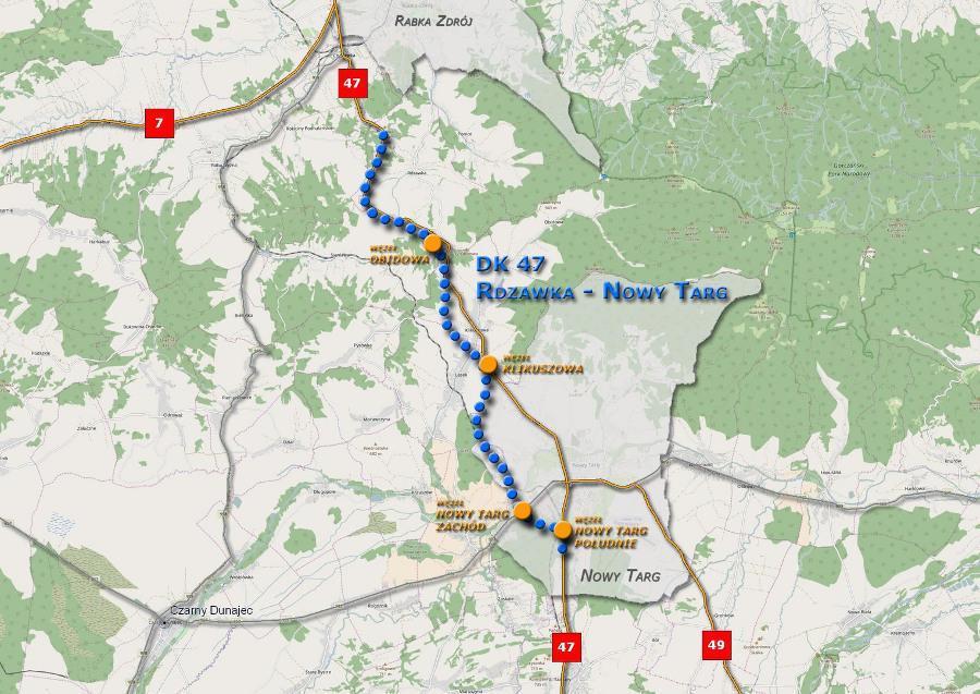 Mapa przebiegu odcinka Zakopianki w ciagu Dk47 Rdzawka - Nowy Targ